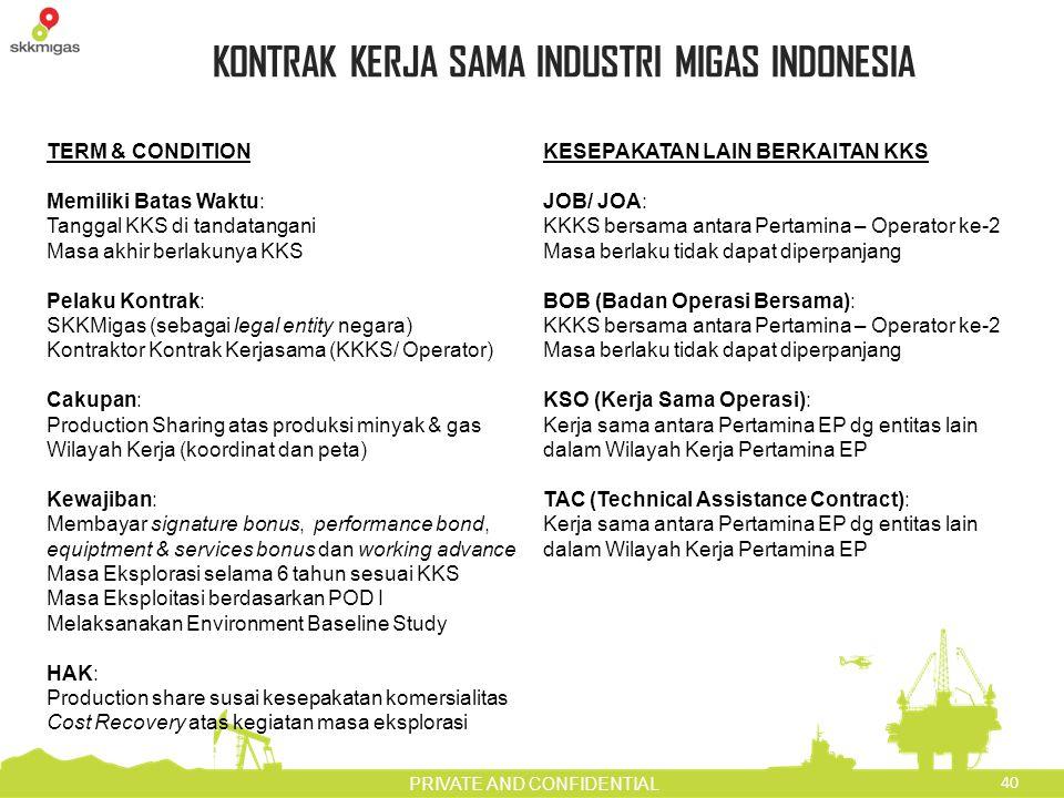 40 PRIVATE AND CONFIDENTIAL KONTRAK KERJA SAMA INDUSTRI MIGAS INDONESIA TERM & CONDITION Memiliki Batas Waktu: Tanggal KKS di tandatangani Masa akhir