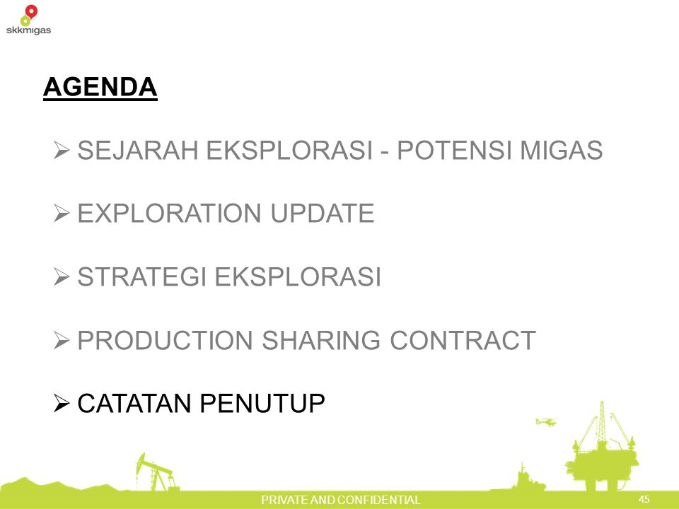 45 PRIVATE AND CONFIDENTIAL AGENDA  SEJARAH EKSPLORASI - POTENSI MIGAS  EXPLORATION UPDATE  STRATEGI EKSPLORASI  PRODUCTION SHARING CONTRACT  CATATAN PENUTUP