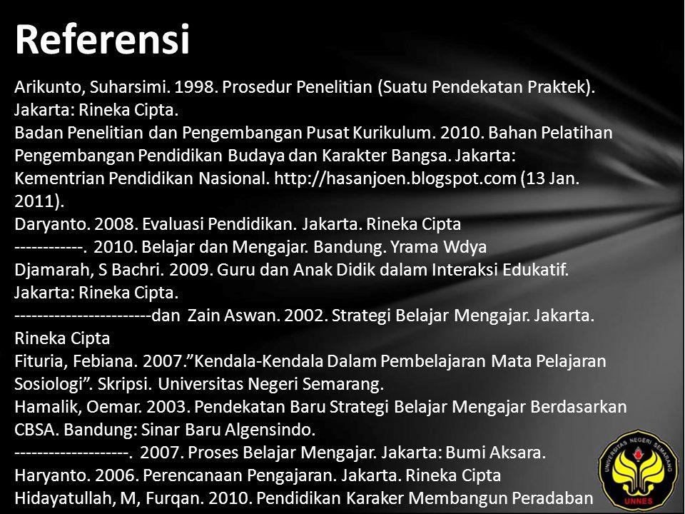 Referensi Arikunto, Suharsimi. 1998. Prosedur Penelitian (Suatu Pendekatan Praktek). Jakarta: Rineka Cipta. Badan Penelitian dan Pengembangan Pusat Ku