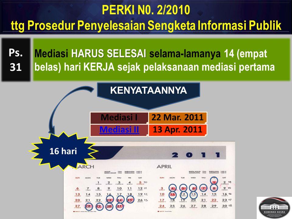 HARUS SELESAI Mediasi HARUS SELESAI selama-lamanya 14 (empat belas) hari KERJA sejak pelaksanaan mediasi pertama PERKI N0. 2/2010 ttg Prosedur Penyele