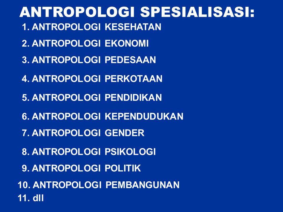 ANTROPOLOGI SPESIALISASI: 1. ANTROPOLOGI KESEHATAN 2. ANTROPOLOGI EKONOMI 3. ANTROPOLOGI PEDESAAN 4. ANTROPOLOGI PERKOTAAN 5. ANTROPOLOGI PENDIDIKAN 6