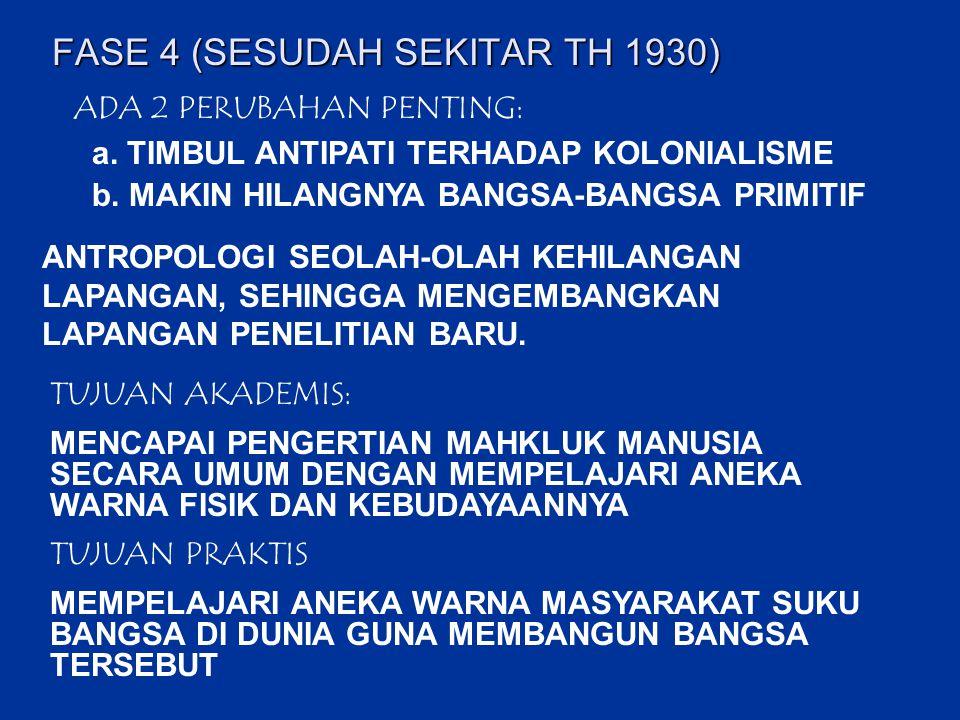 FASE 4 (SESUDAH SEKITAR TH 1930) ADA 2 PERUBAHAN PENTING: a. TIMBUL ANTIPATI TERHADAP KOLONIALISME b. MAKIN HILANGNYA BANGSA-BANGSA PRIMITIF ANTROPOLO