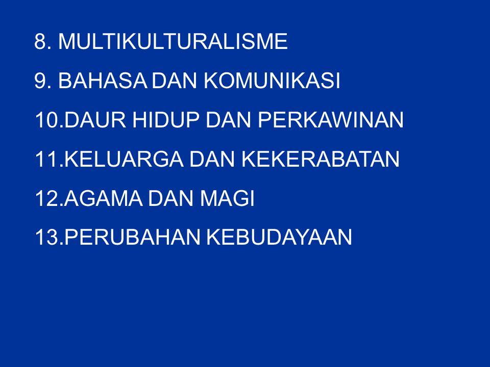 8. MULTIKULTURALISME 9. BAHASA DAN KOMUNIKASI 10.DAUR HIDUP DAN PERKAWINAN 11.KELUARGA DAN KEKERABATAN 12.AGAMA DAN MAGI 13.PERUBAHAN KEBUDAYAAN