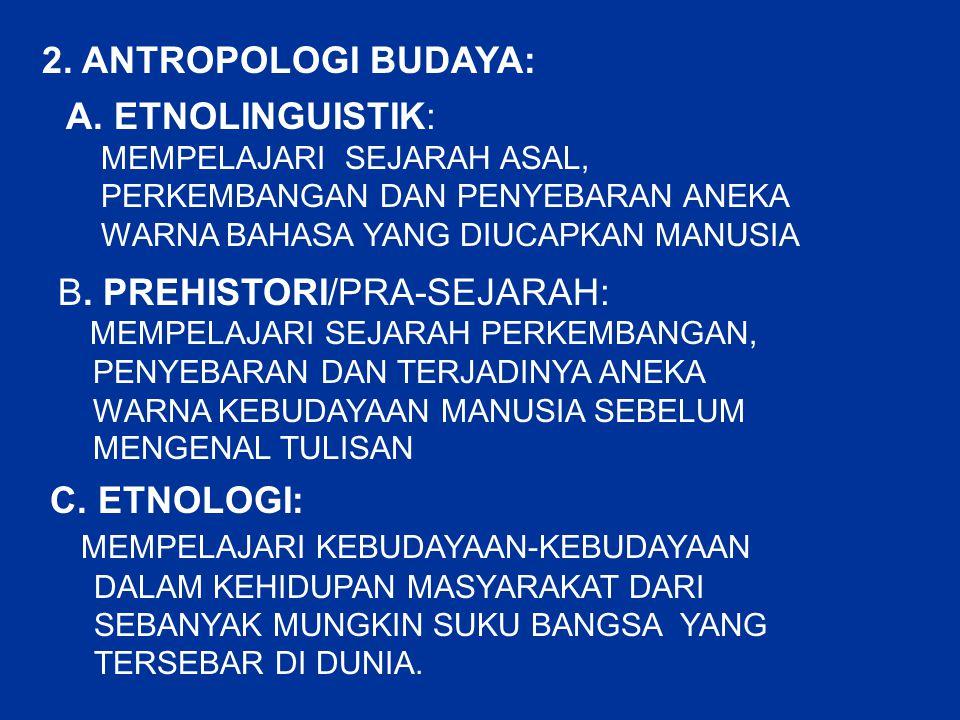 2. ANTROPOLOGI BUDAYA: A. ETNOLINGUISTIK: MEMPELAJARI SEJARAH ASAL, PERKEMBANGAN DAN PENYEBARAN ANEKA WARNA BAHASA YANG DIUCAPKAN MANUSIA B. PREHISTOR