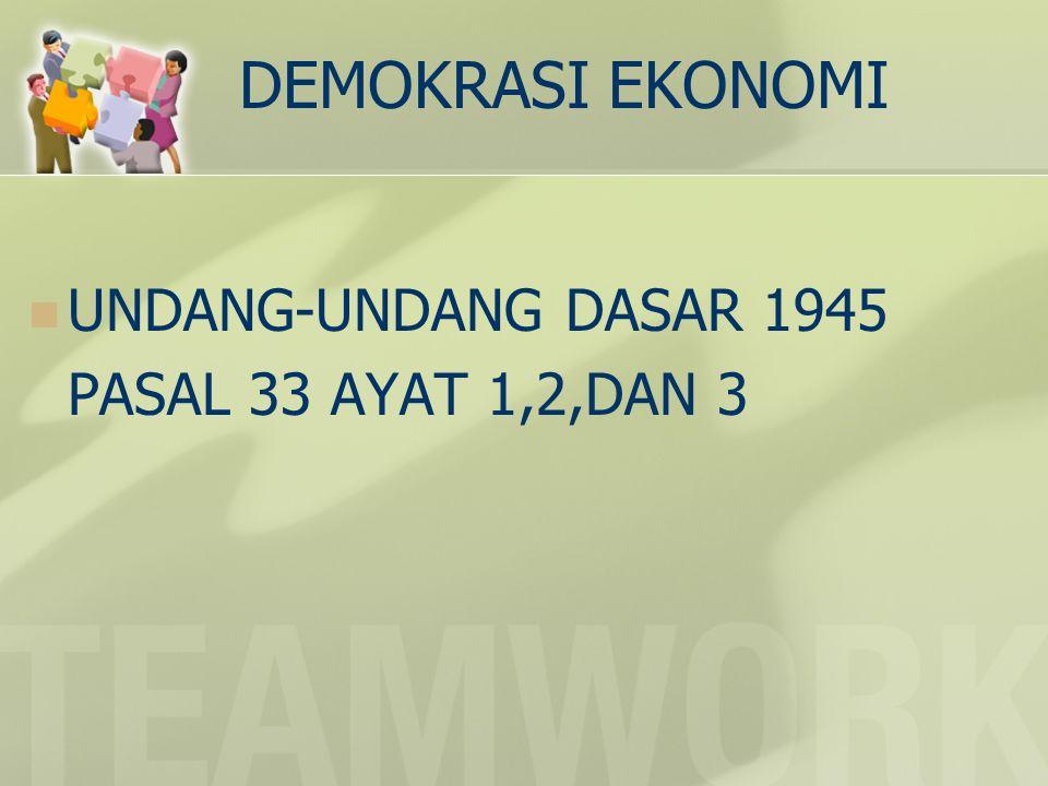 DEMOKRASI EKONOMI UNDANG-UNDANG DASAR 1945 PASAL 33 AYAT 1,2,DAN 3