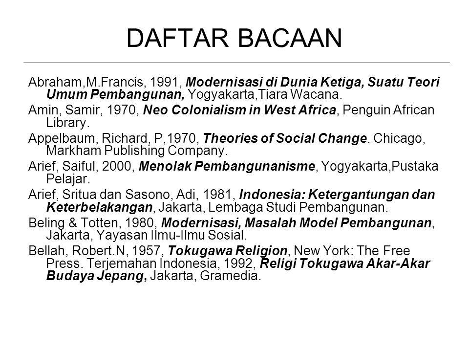 DAFTAR BACAAN Abraham,M.Francis, 1991, Modernisasi di Dunia Ketiga, Suatu Teori Umum Pembangunan, Yogyakarta,Tiara Wacana.