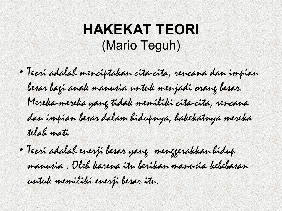 HAKEKAT TEORI (Mario Teguh) Teori adalah menciptakan cita-cita, rencana dan impian besar bagi anak manusia untuk menjadi orang besar.