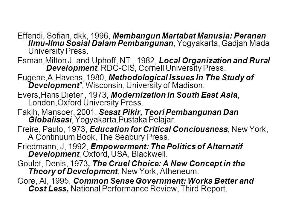 Effendi, Sofian, dkk, 1996, Membangun Martabat Manusia: Peranan Ilmu-Ilmu Sosial Dalam Pembangunan, Yogyakarta, Gadjah Mada University Press.