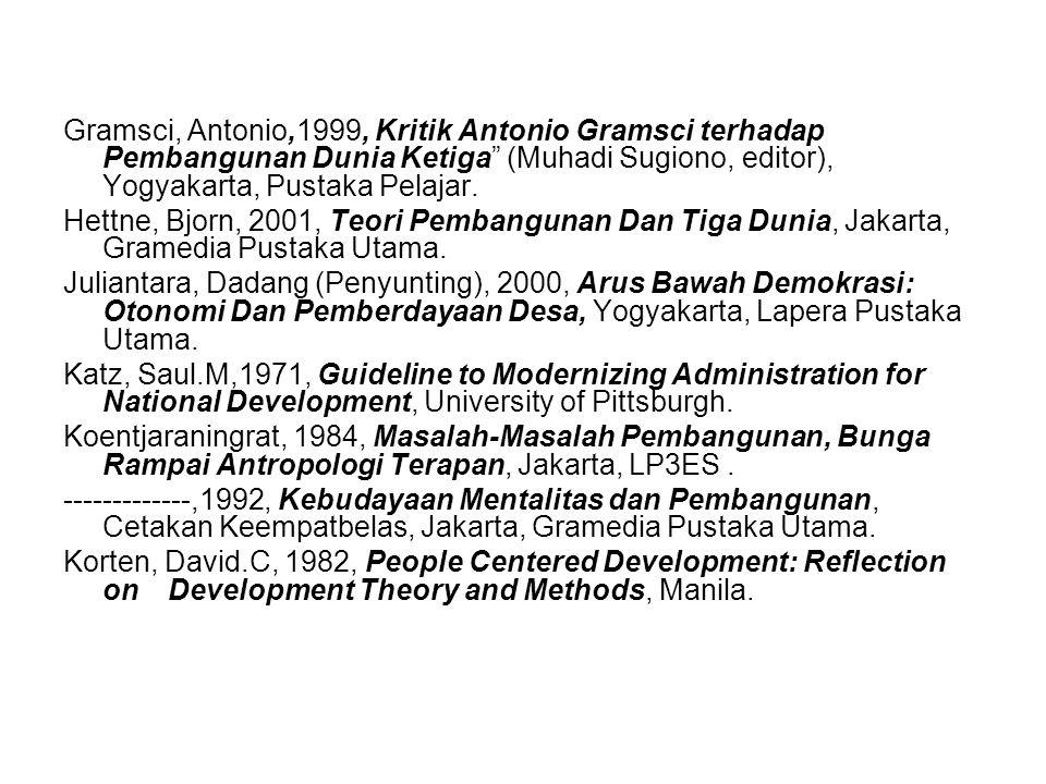 Gramsci, Antonio,1999, Kritik Antonio Gramsci terhadap Pembangunan Dunia Ketiga (Muhadi Sugiono, editor), Yogyakarta, Pustaka Pelajar.
