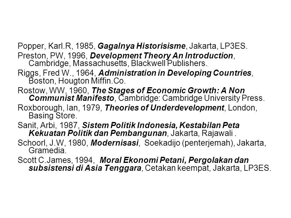Popper, Karl.R, 1985, Gagalnya Historisisme, Jakarta, LP3ES.
