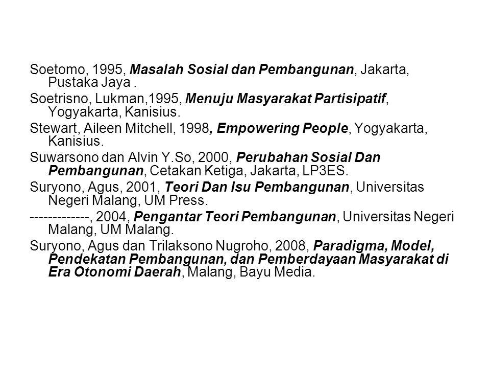 Soetomo, 1995, Masalah Sosial dan Pembangunan, Jakarta, Pustaka Jaya.