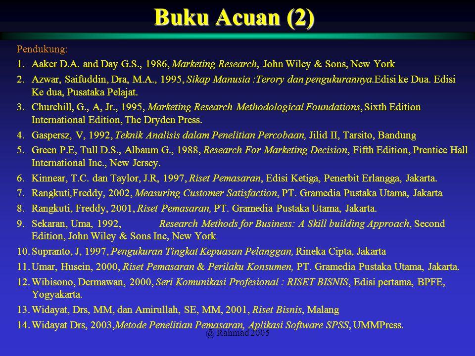 @ Rahmad 2005 Buku Acuan (2) Pendukung: 1.Aaker D.A. and Day G.S., 1986, Marketing Research, John Wiley & Sons, New York 2.Azwar, Saifuddin, Dra, M.A.