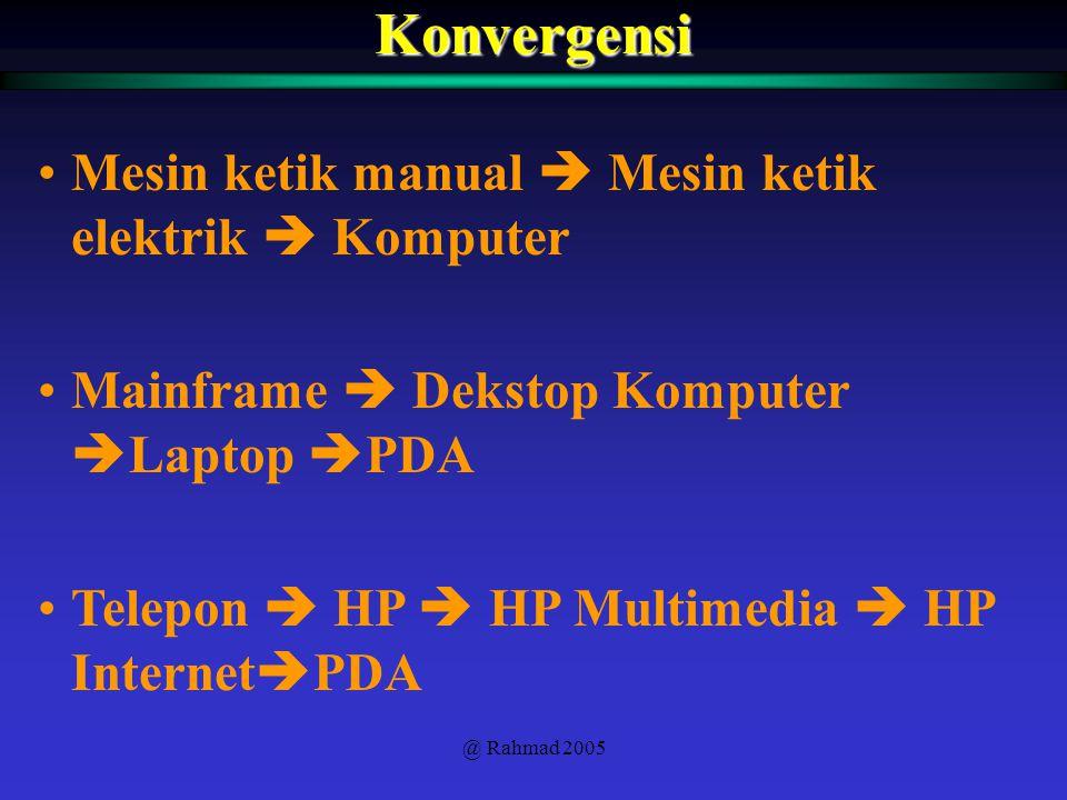@ Rahmad 2005Konvergensi Mesin ketik manual  Mesin ketik elektrik  Komputer Mainframe  Dekstop Komputer  Laptop  PDA Telepon  HP  HP Multimedia