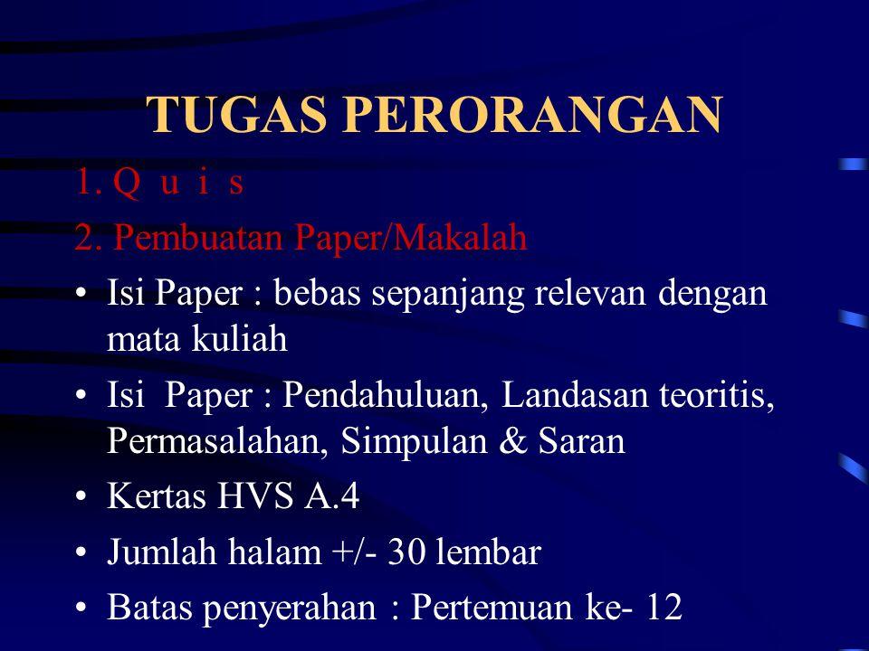 TUGAS PERORANGAN 1. Q u i s 2. Pembuatan Paper/Makalah Isi Paper : bebas sepanjang relevan dengan mata kuliah Isi Paper : Pendahuluan, Landasan teorit