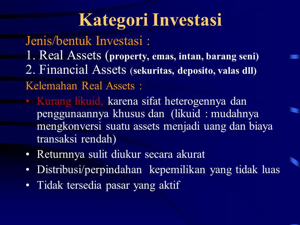 Kategori Investasi Jenis/bentuk Investasi : 1. Real Assets ( property, emas, intan, barang seni) 2. Financial Assets (sekuritas, deposito, valas dll)