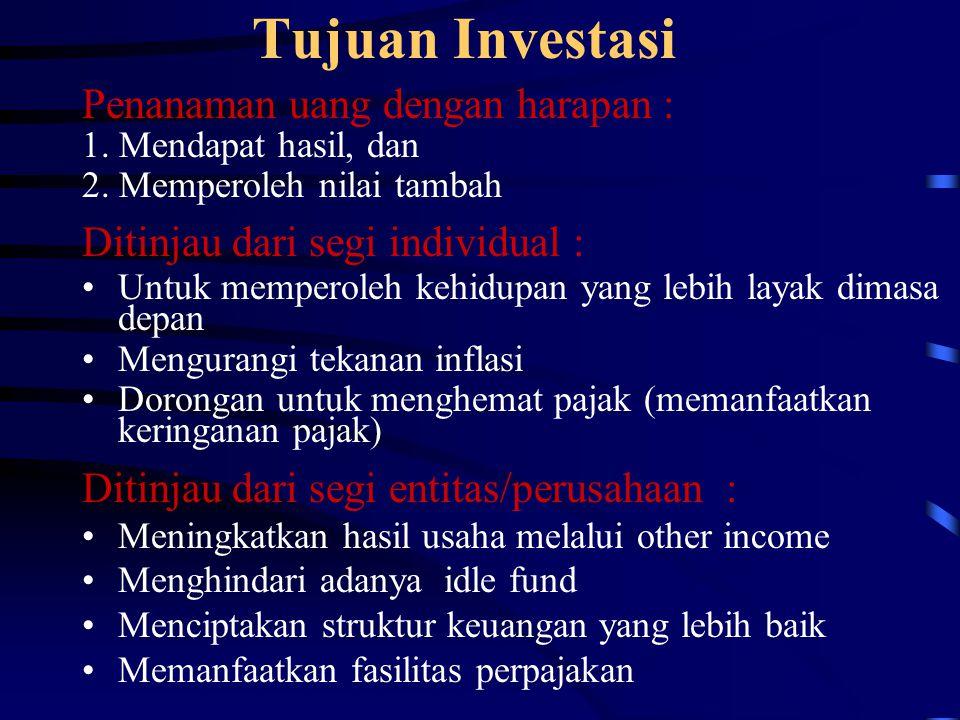 Tujuan Investasi Penanaman uang dengan harapan : 1. Mendapat hasil, dan 2. Memperoleh nilai tambah Ditinjau dari segi individual : Untuk memperoleh ke