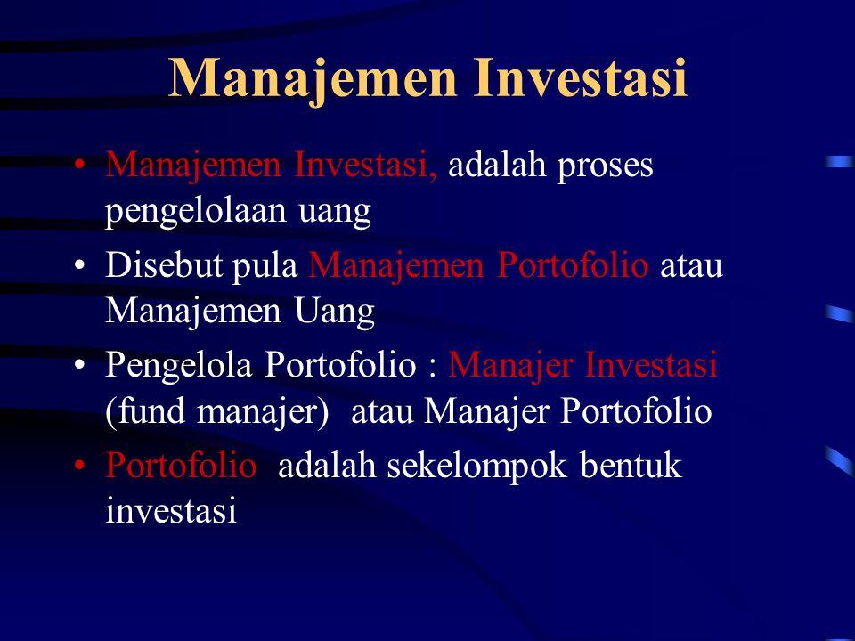 Manajemen Investasi Manajemen Investasi, adalah proses pengelolaan uang Disebut pula Manajemen Portofolio atau Manajemen Uang Pengelola Portofolio : M