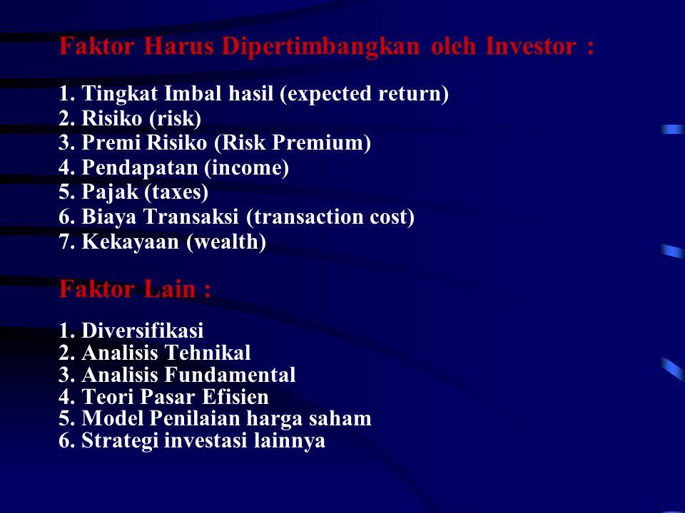 Faktor Harus Dipertimbangkan oleh Investor : 1. Tingkat Imbal hasil (expected return) 2. Risiko (risk) 3. Premi Risiko (Risk Premium) 4. Pendapatan (i