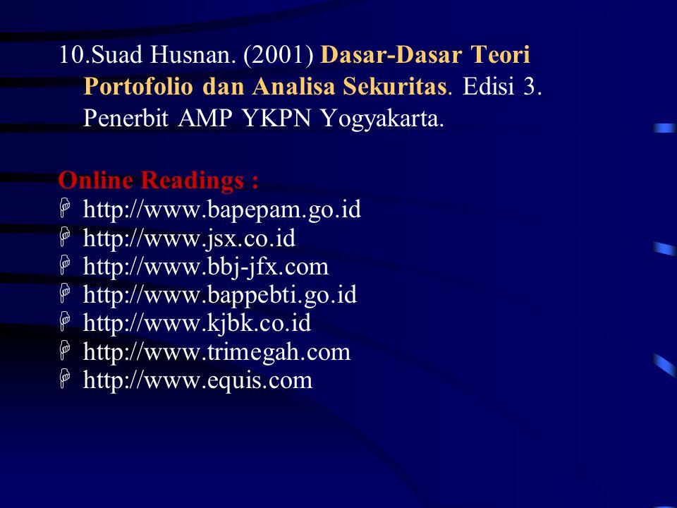 10.Suad Husnan. (2001) Dasar-Dasar Teori Portofolio dan Analisa Sekuritas. Edisi 3. Penerbit AMP YKPN Yogyakarta. Online Readings : Hhttp://www.bapepa