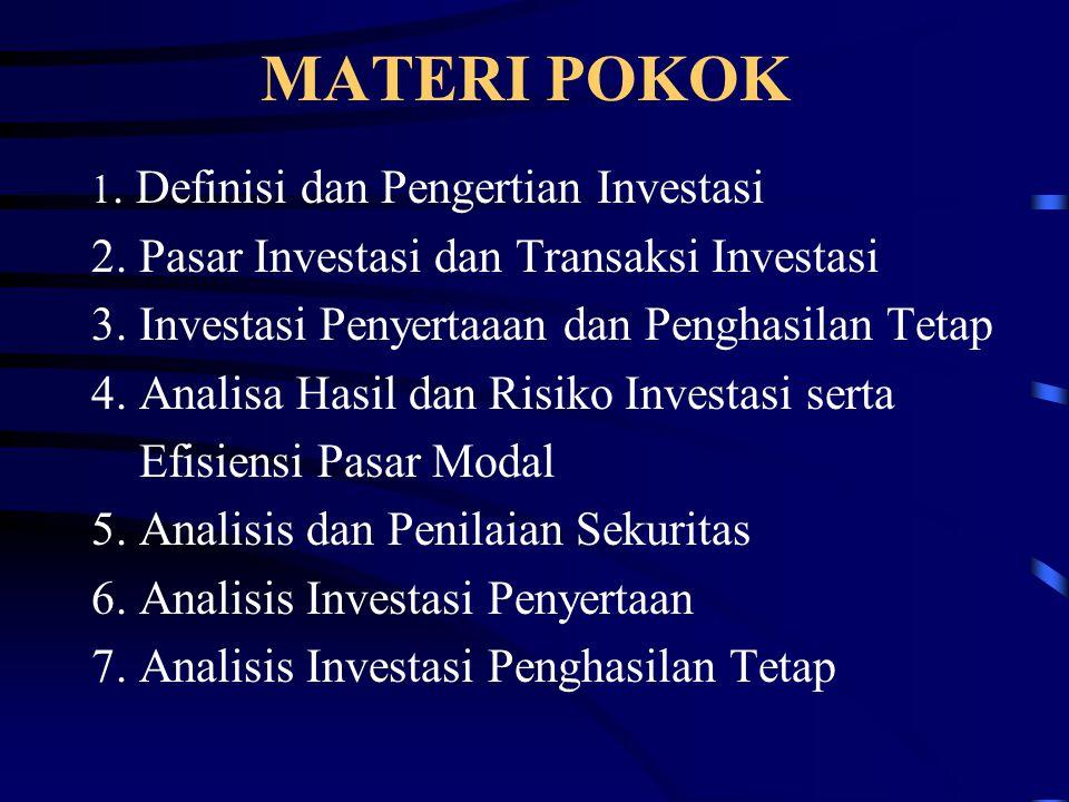 MATERI POKOK 1. Definisi dan Pengertian Investasi 2. Pasar Investasi dan Transaksi Investasi 3. Investasi Penyertaaan dan Penghasilan Tetap 4. Analisa