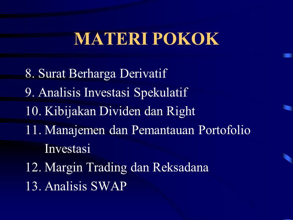 MATERI POKOK 8. Surat Berharga Derivatif 9. Analisis Investasi Spekulatif 10. Kibijakan Dividen dan Right 11. Manajemen dan Pemantauan Portofolio Inve