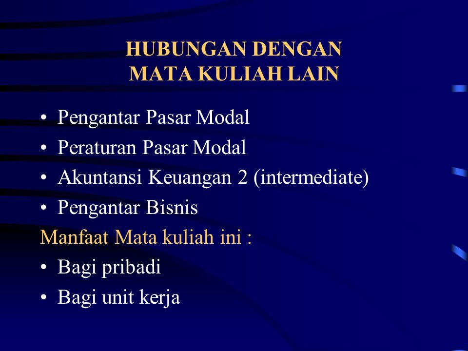 HUBUNGAN DENGAN MATA KULIAH LAIN Pengantar Pasar Modal Peraturan Pasar Modal Akuntansi Keuangan 2 (intermediate) Pengantar Bisnis Manfaat Mata kuliah
