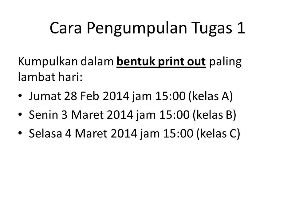 Cara Pengumpulan Tugas 1 Kumpulkan dalam bentuk print out paling lambat hari: Jumat 28 Feb 2014 jam 15:00 (kelas A) Senin 3 Maret 2014 jam 15:00 (kela