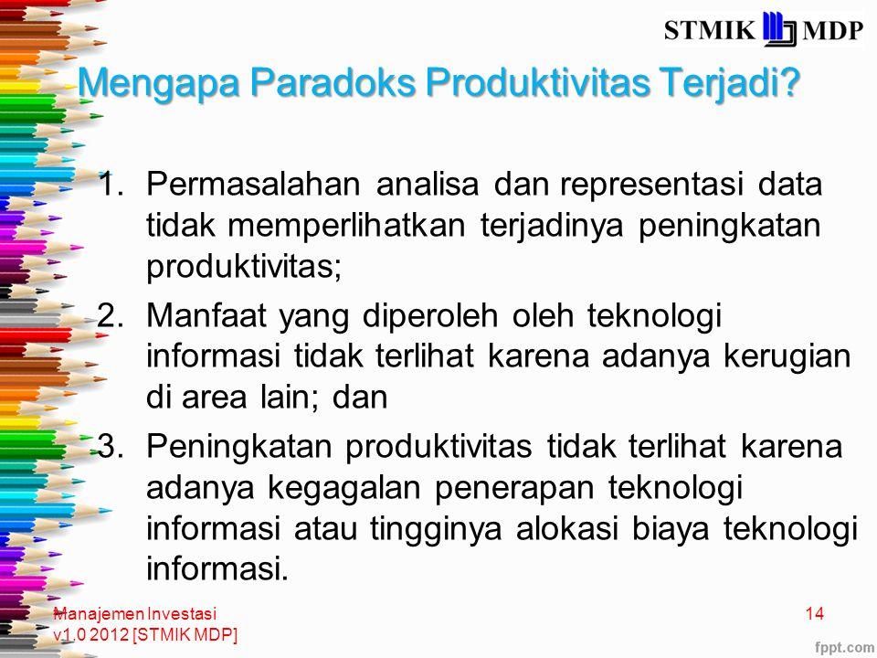 Mengapa Paradoks Produktivitas Terjadi? 1.Permasalahan analisa dan representasi data tidak memperlihatkan terjadinya peningkatan produktivitas; 2.Manf