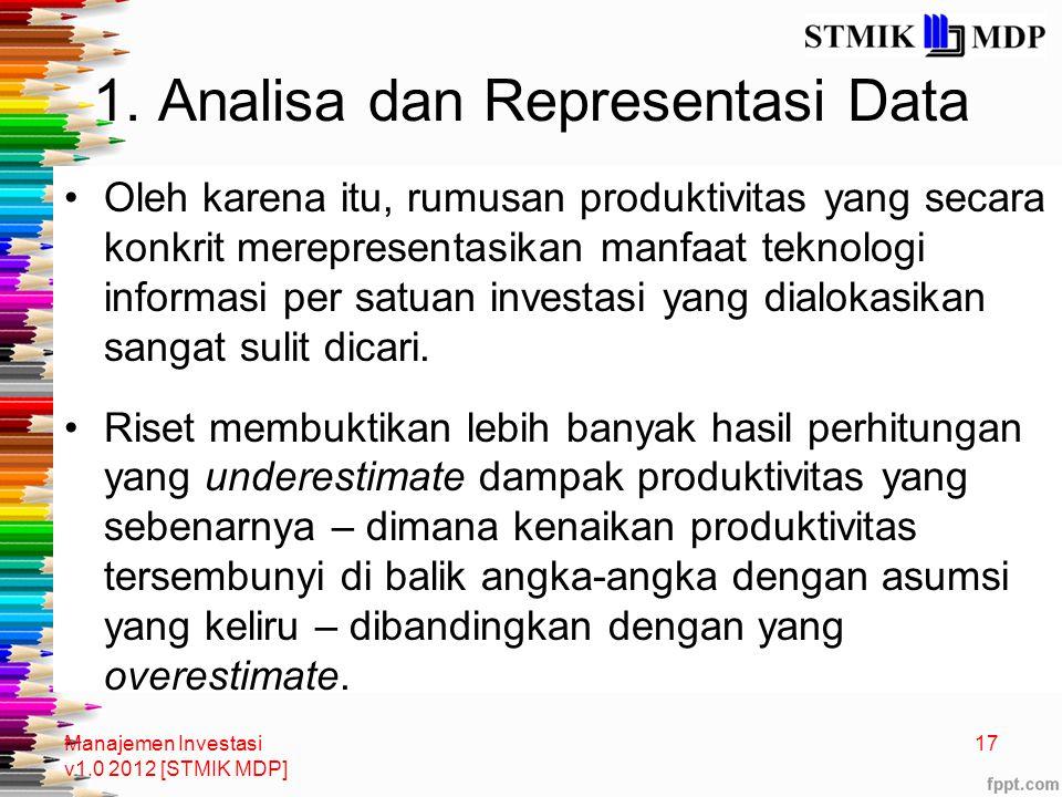 1. Analisa dan Representasi Data Oleh karena itu, rumusan produktivitas yang secara konkrit merepresentasikan manfaat teknologi informasi per satuan i