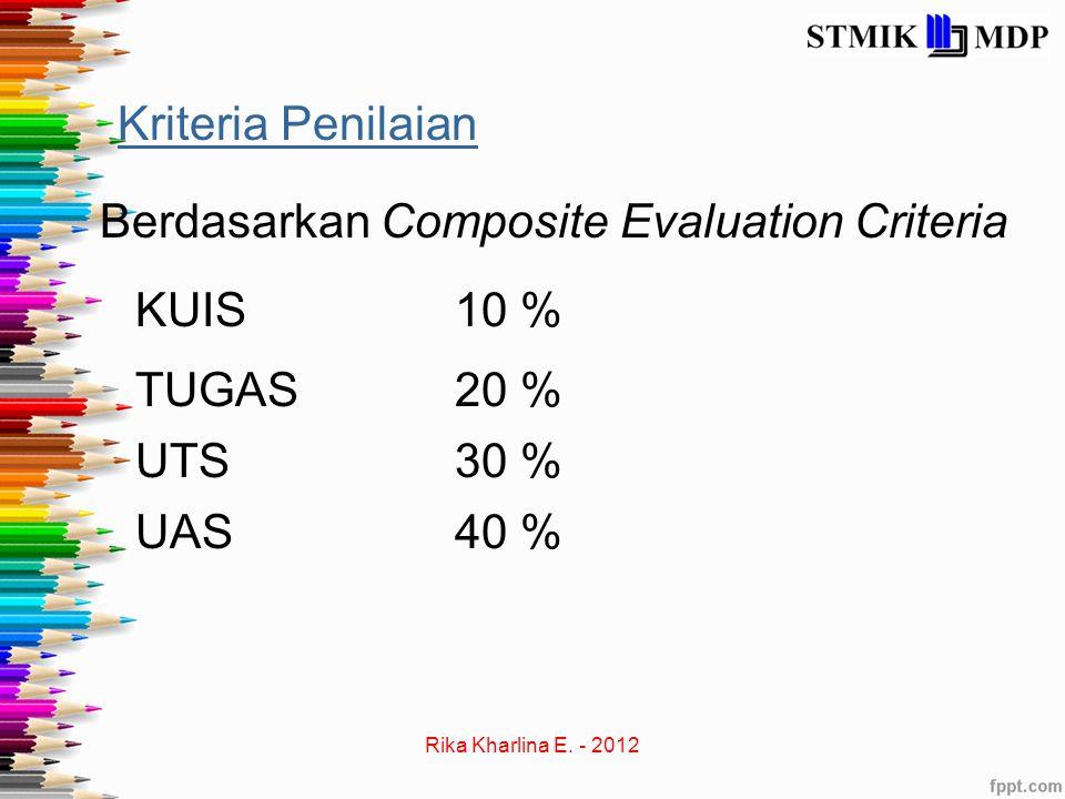 Kriteria Penilaian Berdasarkan Composite Evaluation Criteria KUIS10 % UTS30 % UAS40 % TUGAS20 %