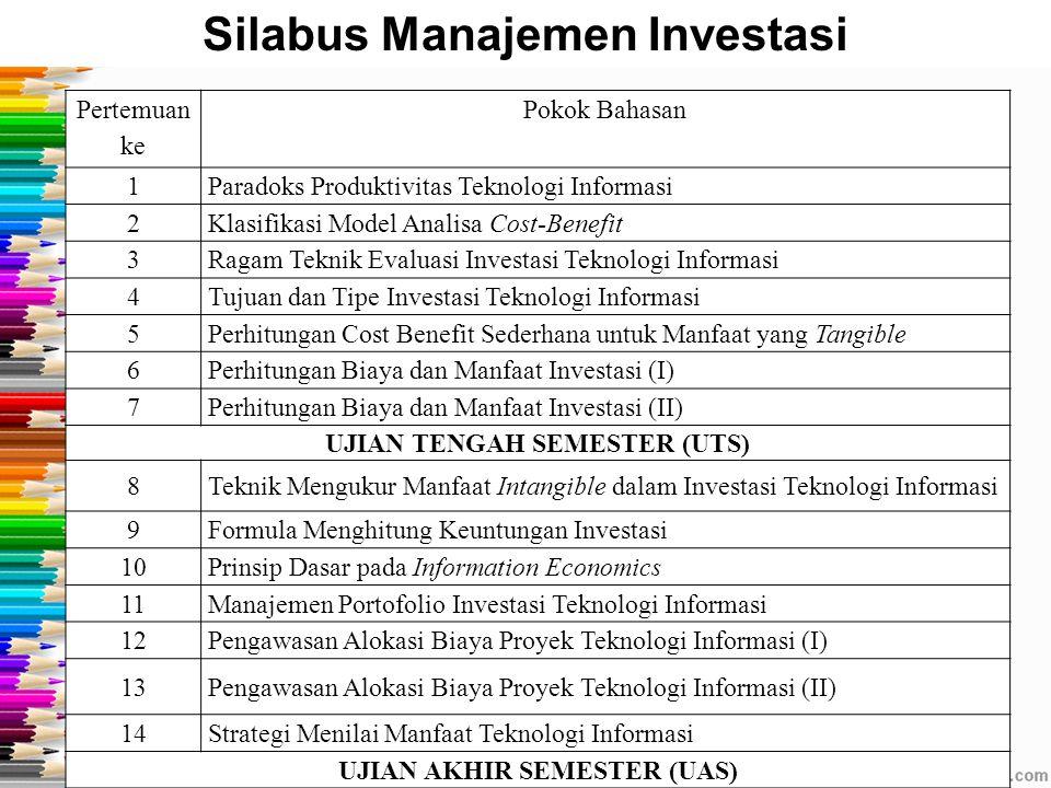 Manajemen Investasi v1.0 2012 [STMIK MDP] 9 Pertemuan ke Pokok Bahasan 1Paradoks Produktivitas Teknologi Informasi 2Klasifikasi Model Analisa Cost-Ben