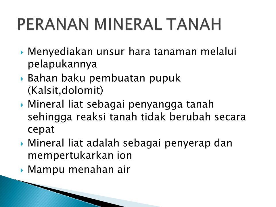  Menyediakan unsur hara tanaman melalui pelapukannya  Bahan baku pembuatan pupuk (Kalsit,dolomit)  Mineral liat sebagai penyangga tanah sehingga re