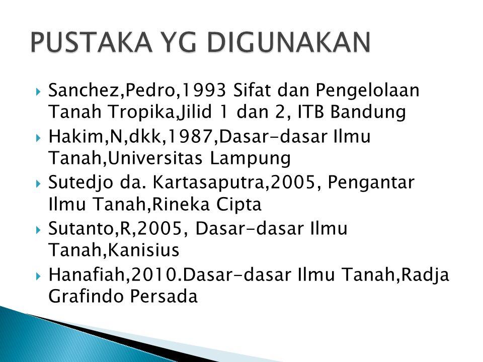  Sanchez,Pedro,1993 Sifat dan Pengelolaan Tanah Tropika,Jilid 1 dan 2, ITB Bandung  Hakim,N,dkk,1987,Dasar-dasar Ilmu Tanah,Universitas Lampung  Sutedjo da.