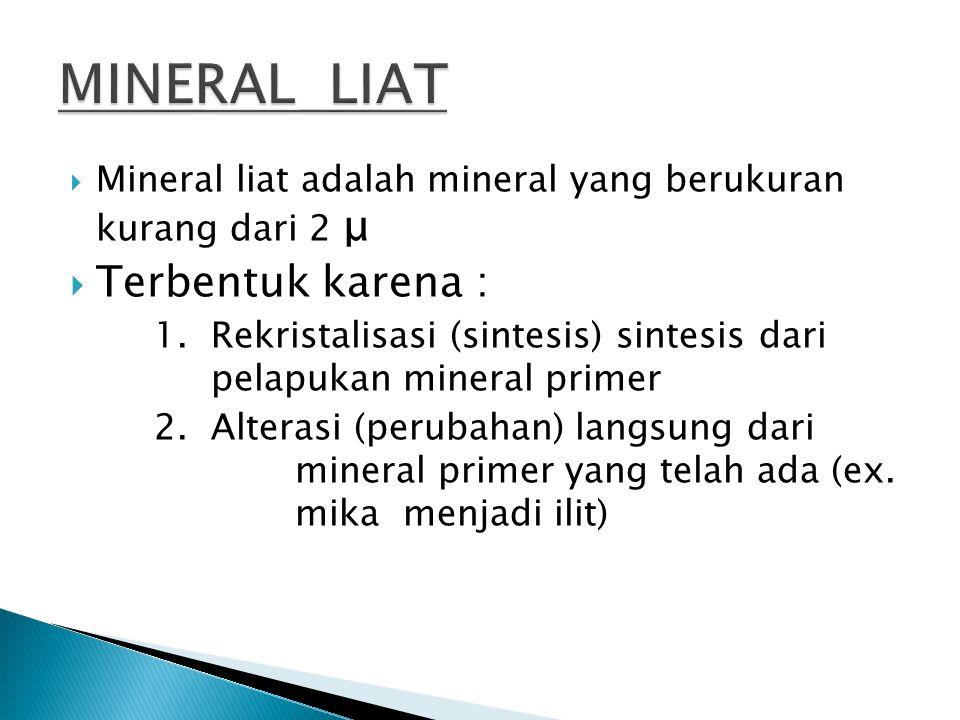  Mineral liat adalah mineral yang berukuran kurang dari 2 μ  Terbentuk karena : 1. Rekristalisasi (sintesis) sintesis dari pelapukan mineral primer