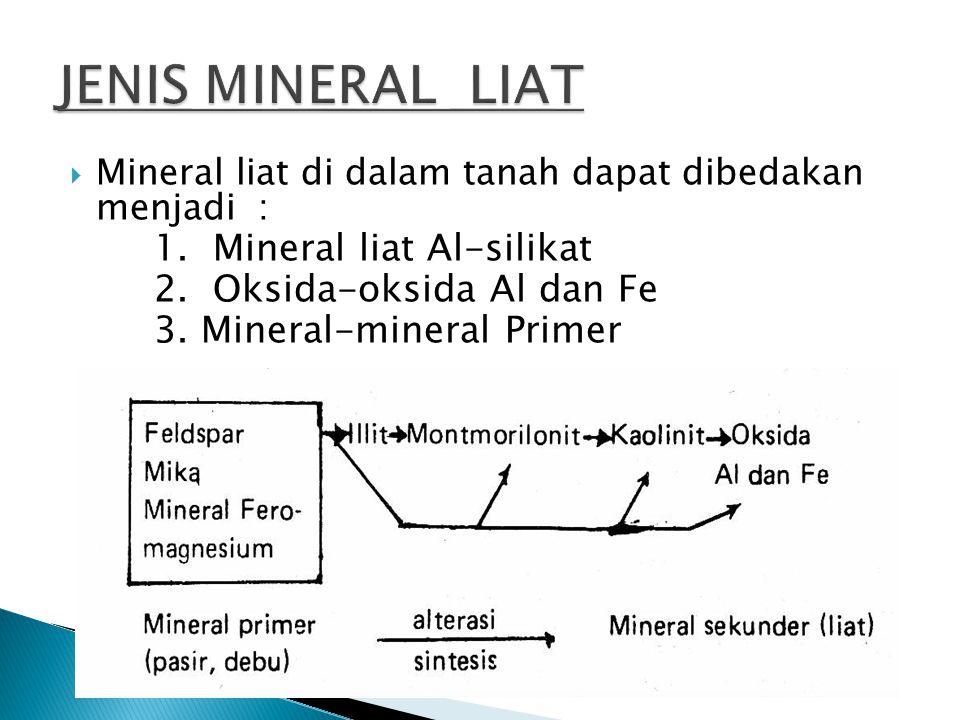  Mineral liat di dalam tanah dapat dibedakan menjadi : 1. Mineral liat Al-silikat 2. Oksida-oksida Al dan Fe 3. Mineral-mineral Primer