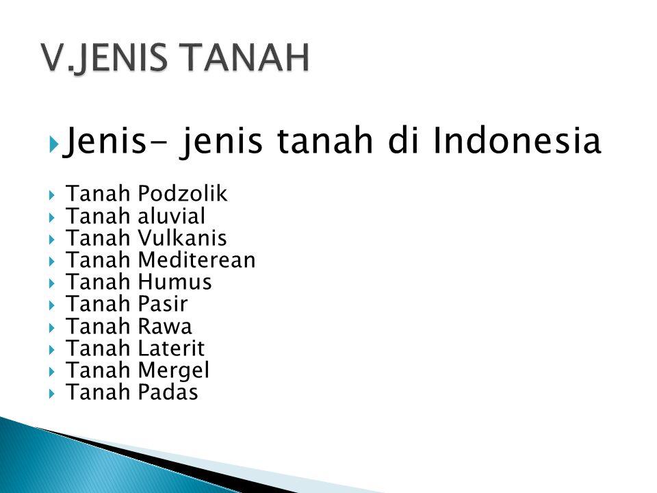  Jenis- jenis tanah di Indonesia  Tanah Podzolik  Tanah aluvial  Tanah Vulkanis  Tanah Mediterean  Tanah Humus  Tanah Pasir  Tanah Rawa  Tanah Laterit  Tanah Mergel  Tanah Padas