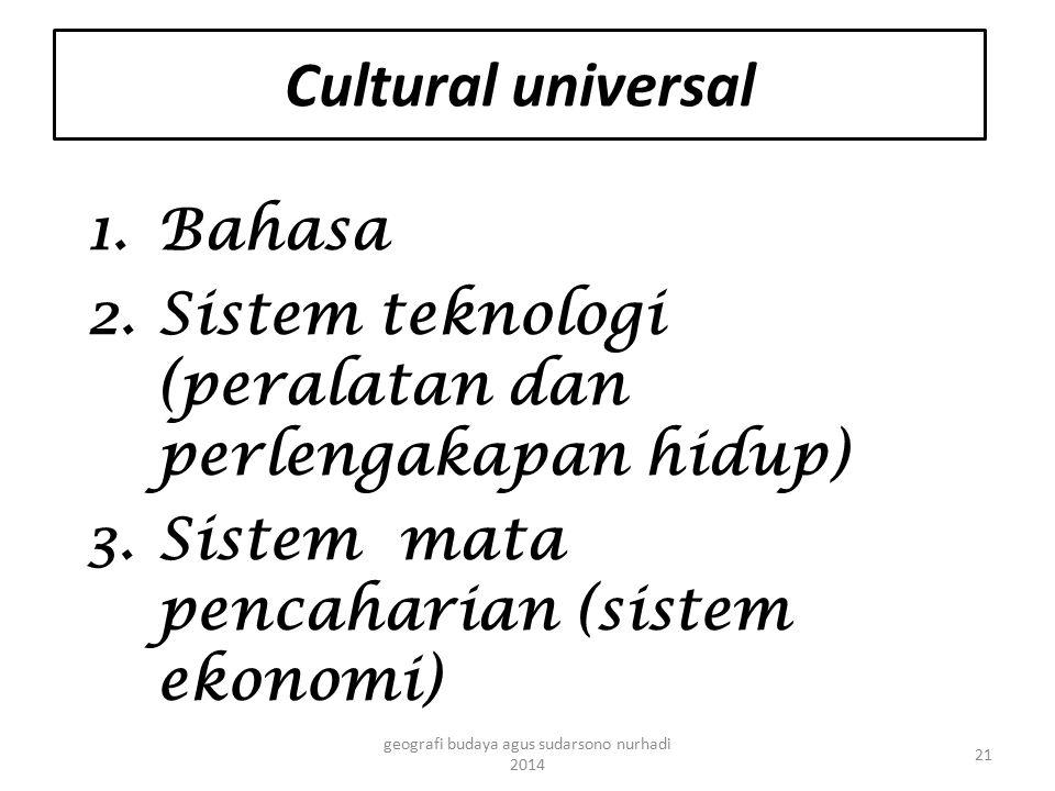 Cultural universal 1.Bahasa 2.Sistem teknologi (peralatan dan perlengakapan hidup) 3.Sistem mata pencaharian (sistem ekonomi) 21 geografi budaya agus