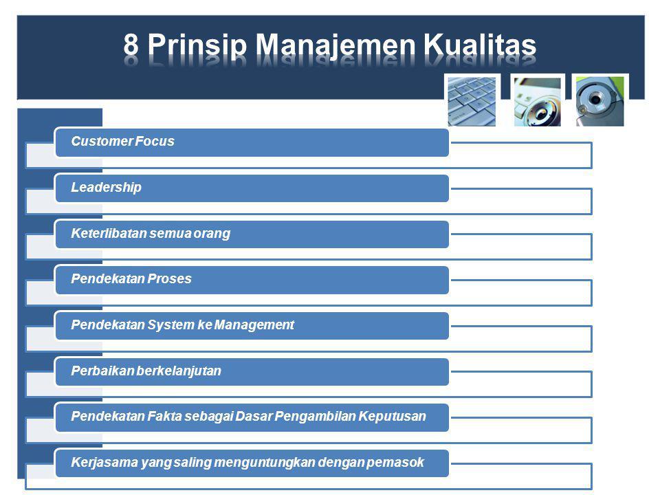 Customer FocusLeadershipKeterlibatan semua orangPendekatan ProsesPendekatan System ke ManagementPerbaikan berkelanjutanPendekatan Fakta sebagai Dasar Pengambilan KeputusanKerjasama yang saling menguntungkan dengan pemasok