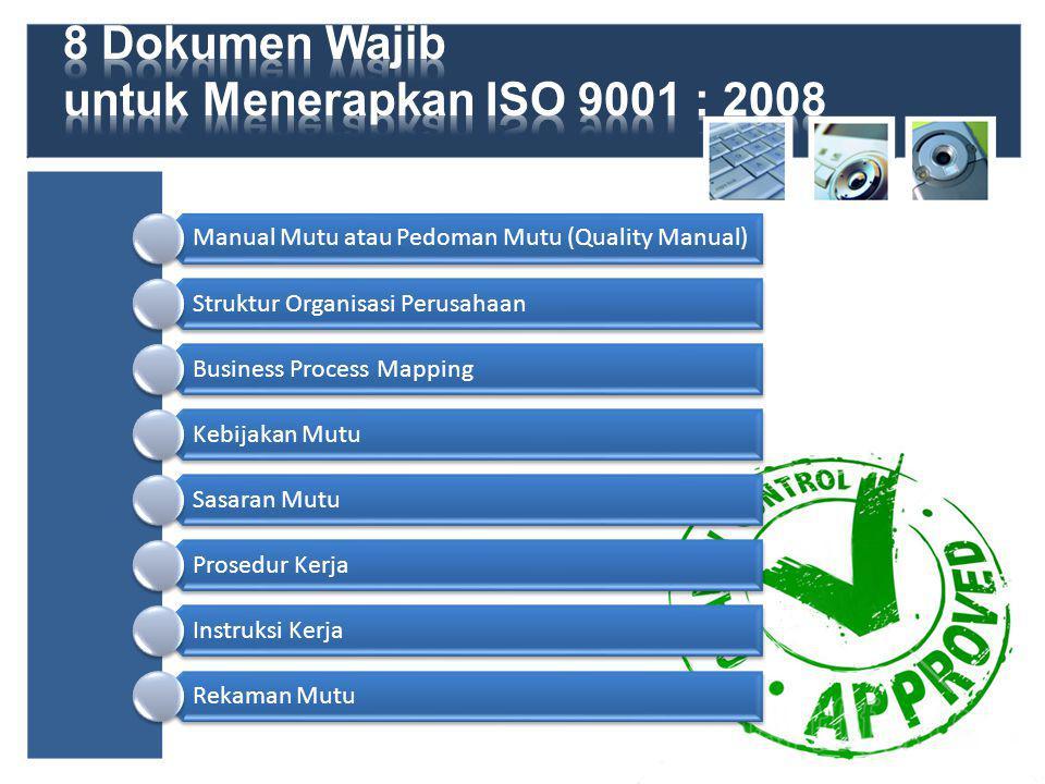 Manual Mutu atau Pedoman Mutu (Quality Manual) Struktur Organisasi Perusahaan Business Process Mapping Kebijakan Mutu Sasaran Mutu Prosedur Kerja Instruksi Kerja Rekaman Mutu