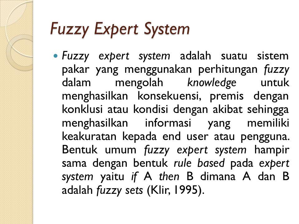 Fuzzy Expert System Fuzzy expert system adalah suatu sistem pakar yang menggunakan perhitungan fuzzy dalam mengolah knowledge untuk menghasilkan konsekuensi, premis dengan konklusi atau kondisi dengan akibat sehingga menghasilkan informasi yang memiliki keakuratan kepada end user atau pengguna.