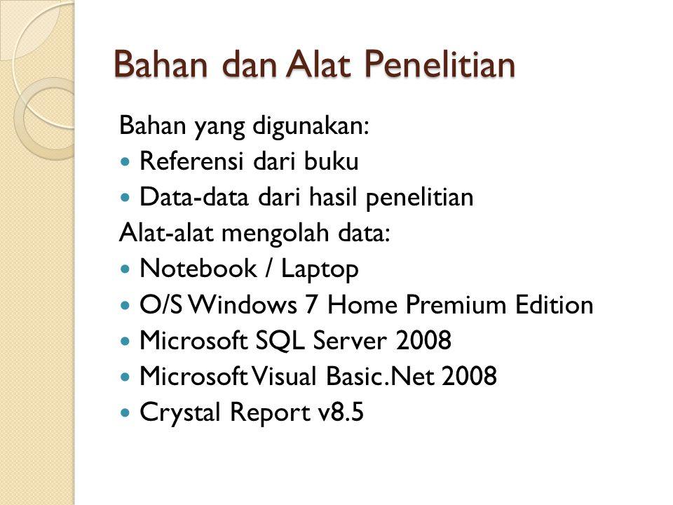 Bahan dan Alat Penelitian Bahan yang digunakan: Referensi dari buku Data-data dari hasil penelitian Alat-alat mengolah data: Notebook / Laptop O/S Windows 7 Home Premium Edition Microsoft SQL Server 2008 Microsoft Visual Basic.Net 2008 Crystal Report v8.5
