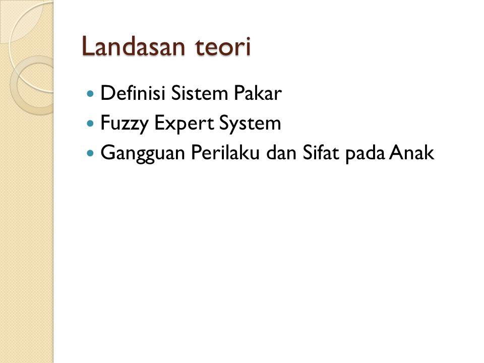 Landasan teori Definisi Sistem Pakar Fuzzy Expert System Gangguan Perilaku dan Sifat pada Anak