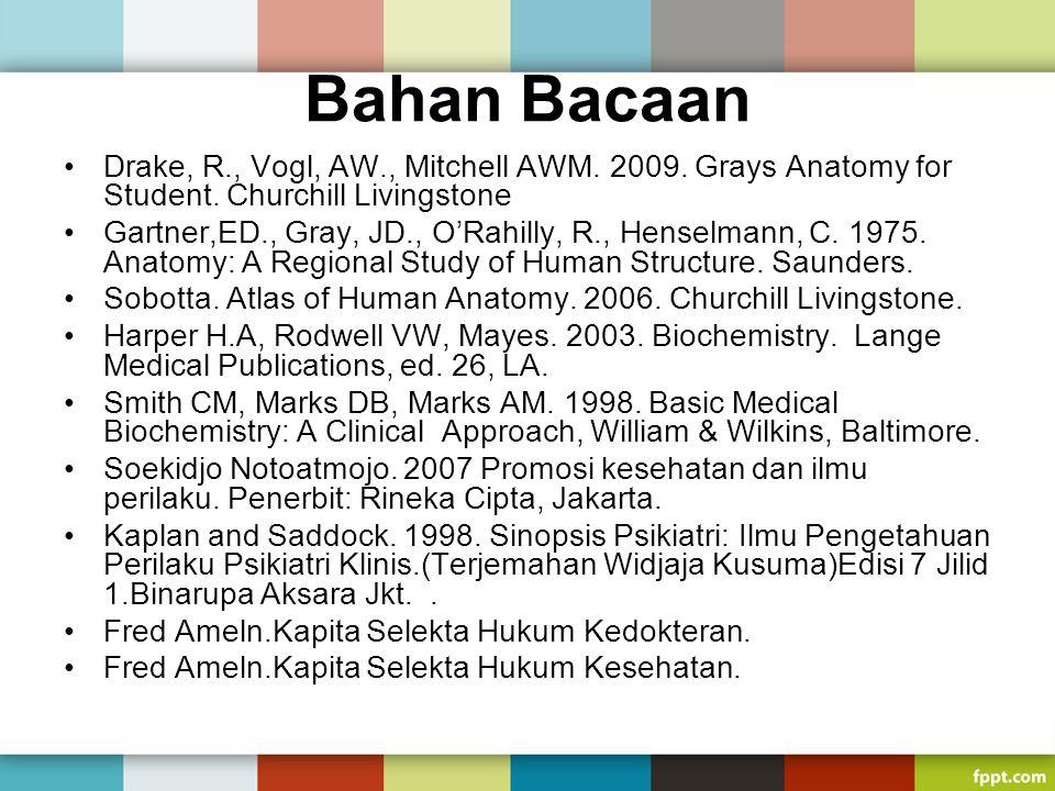 Bahan Bacaan Drake, R., Vogl, AW., Mitchell AWM. 2009. Grays Anatomy for Student. Churchill Livingstone Gartner,ED., Gray, JD., O'Rahilly, R., Henselm