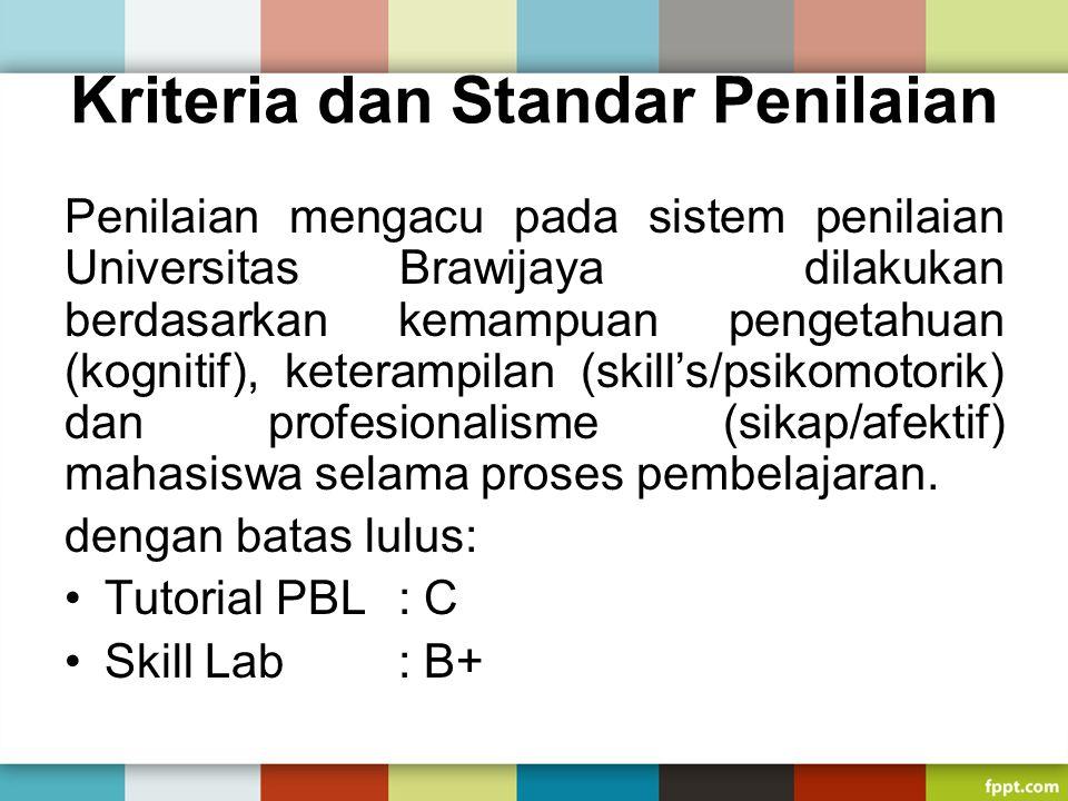 Kriteria dan Standar Penilaian Penilaian mengacu pada sistem penilaian Universitas Brawijaya dilakukan berdasarkan kemampuan pengetahuan (kognitif), k