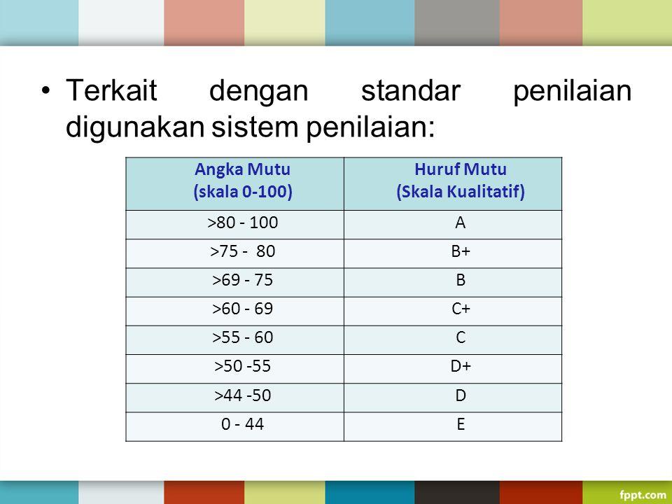 Terkait dengan standar penilaian digunakan sistem penilaian: Angka Mutu (skala 0-100) Huruf Mutu (Skala Kualitatif) >80 - 100A >75 - 80B+ >69 - 75B >6