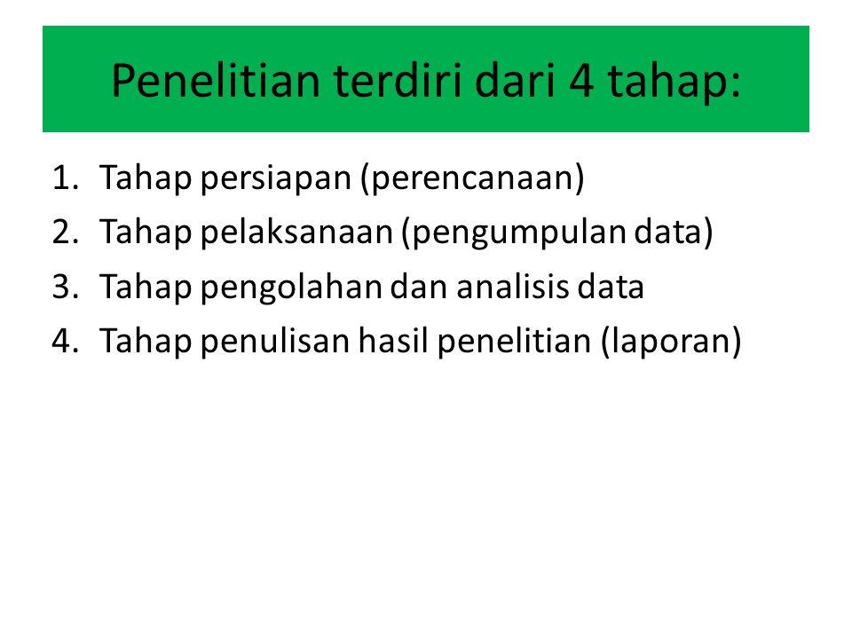 Penelitian terdiri dari 4 tahap: 1.Tahap persiapan (perencanaan) 2.Tahap pelaksanaan (pengumpulan data) 3.Tahap pengolahan dan analisis data 4.Tahap p