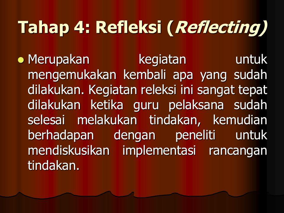 Tahap 4: Refleksi (Reflecting) Merupakan kegiatan untuk mengemukakan kembali apa yang sudah dilakukan.