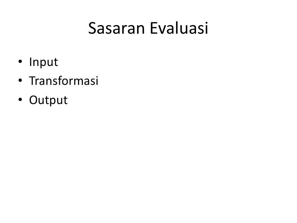 Sasaran Evaluasi Input Transformasi Output