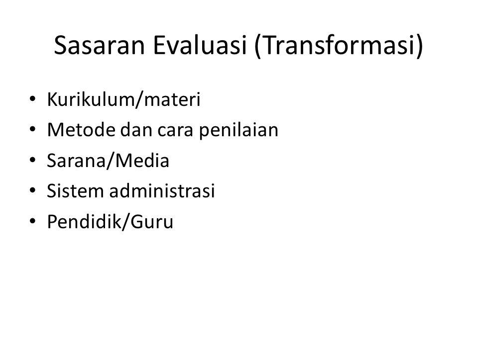 Sasaran Evaluasi (Transformasi) Kurikulum/materi Metode dan cara penilaian Sarana/Media Sistem administrasi Pendidik/Guru