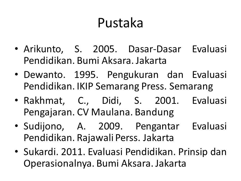 Pustaka Arikunto, S. 2005. Dasar-Dasar Evaluasi Pendidikan. Bumi Aksara. Jakarta Dewanto. 1995. Pengukuran dan Evaluasi Pendidikan. IKIP Semarang Pres